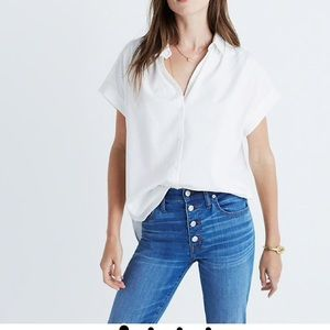 Madewell Oversized Boxy White Button Down Short Sl